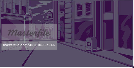 Night time generic city street scene for comics and animation Stock Photo - Budget Royalty-Free, Image code: 400-08263946