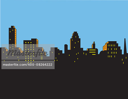Retro Classic Comics Style City Skyline Stock Photo - Budget Royalty-Free, Image code: 400-08264222