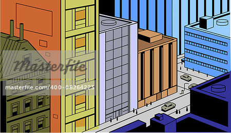 Retro Vintage City Street Scene for Comics and Animation Stock Photo - Budget Royalty-Free, Image code: 400-08264223