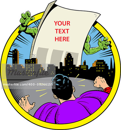 Classic Retro Superhero Ready to Fight Paper Monster Displaying Your Custom Message Over City Skyline Stock Photo - Budget Royalty-Free, Image code: 400-08266155