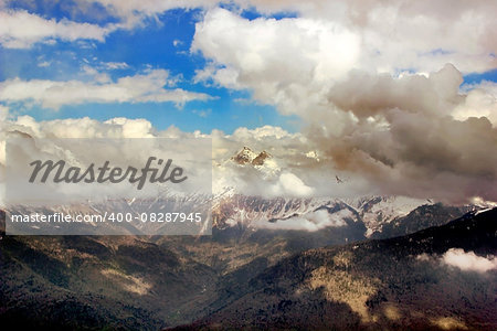 Mountain Peak with mist and clouds landscape, russia, sochi Stock Photo - Budget Royalty-Free, Image code: 400-08287945