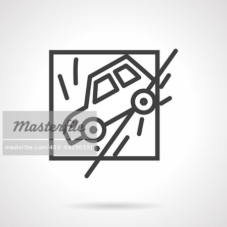 Abstract flat black line design vector icon for car slid off a road. Occasions for car insurance. Design element for business and website. Stock Photo - Budget Royalty-Free, Image code: 400-08290591
