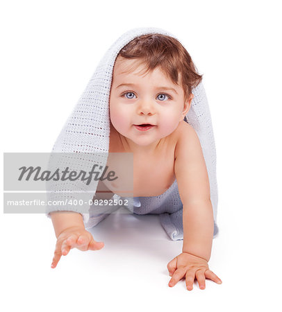 Cute little baby boy wrapped in blue towel after shower crawling in the studio over white background, happy healthy childhood Stock Photo - Budget Royalty-Free, Image code: 400-08292502