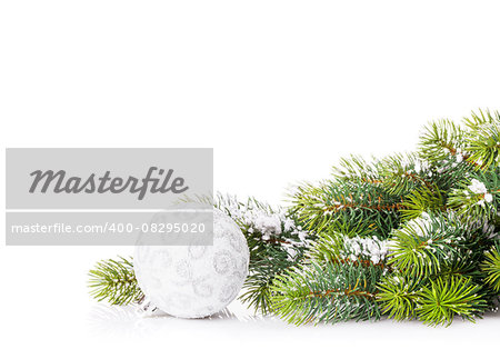 Christmas tree branch with snow and bauble. Isolated on white background with copy space Stock Photo - Budget Royalty-Free, Image code: 400-08295020
