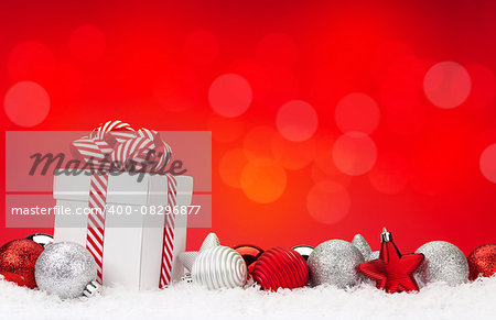 Christmas background with baubles, gift box and bokeh copy space Stock Photo - Budget Royalty-Free, Image code: 400-08296877