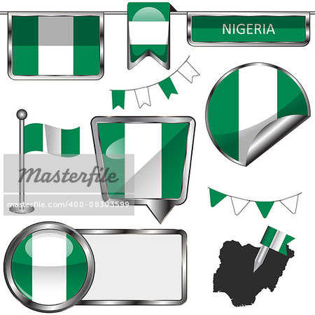Vector glossy icons of flag of Nigeria on white Stock Photo - Budget Royalty-Free, Image code: 400-08303599