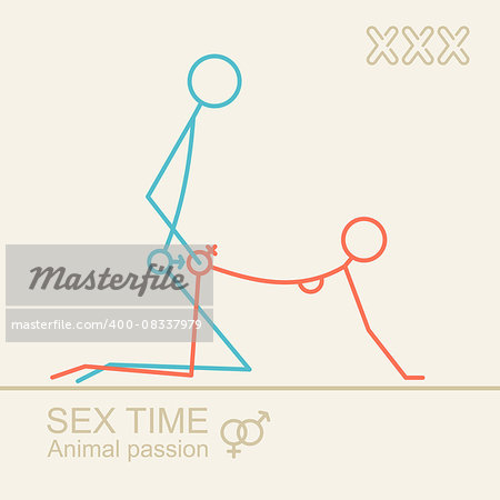 Kamasutra, stylized man and woman sex position , xxx. Vector background in trendy linear style. Only adults. Stock Photo - Budget Royalty-Free, Image code: 400-08337979
