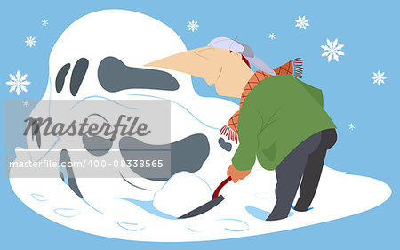Man digs out the car from the snow by spade Stock Photo - Budget Royalty-Free, Image code: 400-08338565