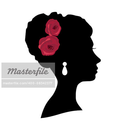vector illustration of a girl bride head silhouette with roses