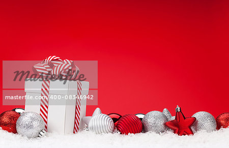 Christmas background with baubles, gift box and copy space Stock Photo - Budget Royalty-Free, Image code: 400-08346942