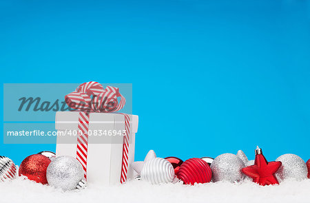 Christmas background with baubles, gift box and copy space Stock Photo - Budget Royalty-Free, Image code: 400-08346943
