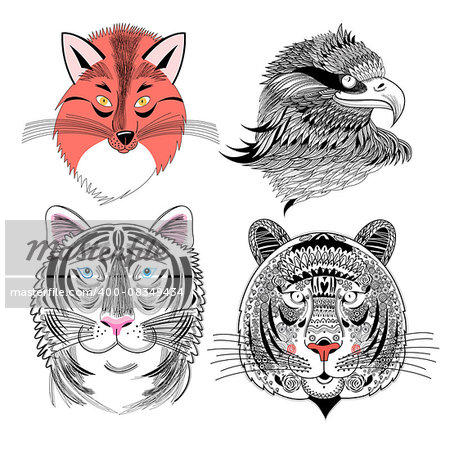 Beautiful vector set predator fox eagle and tiger Stock Photo - Budget Royalty-Free, Image code: 400-08349434
