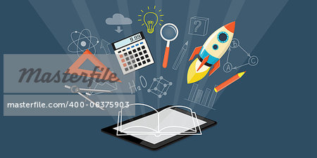 Flat design modern vector illustration  concept of  higher school, university, online education, business  studying, training, webinar with tablet, rocket, calculator, loupe - eps 10 Stock Photo - Budget Royalty-Free, Image code: 400-08375903