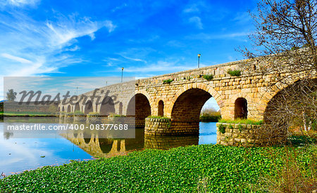 a view of the Puente Romano, an ancient Roman bridge over the Guadiana River, in Merida, Spain Stock Photo - Budget Royalty-Free, Image code: 400-08377688