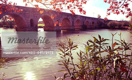 a view of the Puente Romano, an ancient Roman bridge over the Guadiana River, in Merida, Spain, with a filter effect Stock Photo - Budget Royalty-Free, Image code: 400-08378973