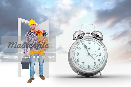 Handyman holding tool box and multimeter  against alarm clock counting down to twelve Stock Photo - Budget Royalty-Free, Image code: 400-08380069