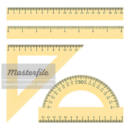 Vector illustration of various rulers and protractor Stock Photo - Budget Royalty-Free, Image code: 400-08406890