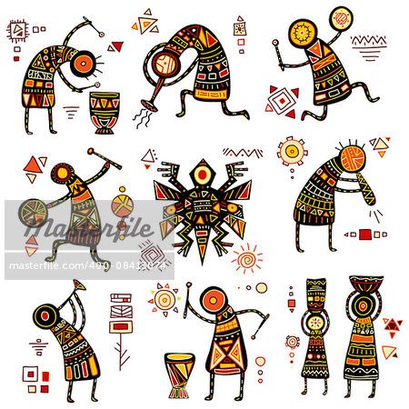 African ethnic patterns of yellow, orange, black and red color Stock Photo - Budget Royalty-Free, Image code: 400-08413074