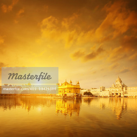 Golden sunrise at Golden Temple in Amritsar, Punjab, India. Stock Photo - Budget Royalty-Free, Image code: 400-08429300