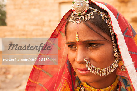Portrait of an India Rajasthani woman Stock Photo - Budget Royalty-Free, Image code: 400-08430144