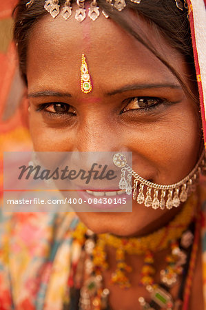 Portrait of traditional Indian Rajasthani woman, India people. Stock Photo - Budget Royalty-Free, Image code: 400-08430145