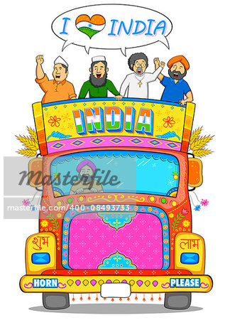 illustration of people of different religion showing Unity in Diversity of India Stock Photo - Budget Royalty-Free, Image code: 400-08493733
