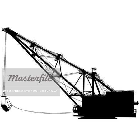 Dragline walking excavator with a ladle. Vector illustration. Stock Photo - Budget Royalty-Free, Image code: 400-08494537