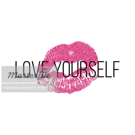 Atr poster vector illustration with pink lips print, isolated on white background.
