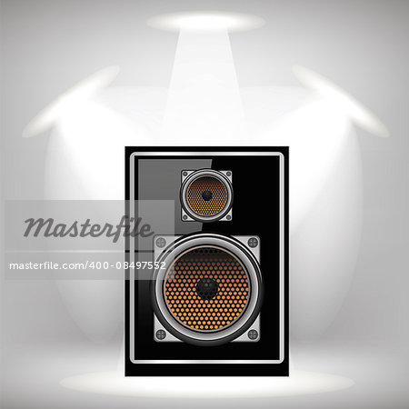 Musical Black Speaker on Light Gray Background Stock Photo - Budget Royalty-Free, Image code: 400-08497552
