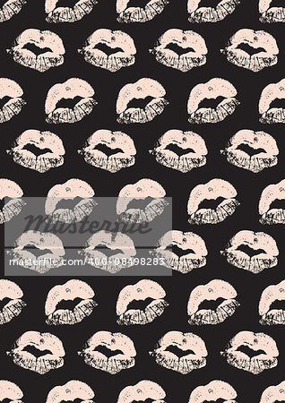 Seamless pattern with a lipstick kiss prints for wrapping, wallpaper, textile, invitation, wedding cards. Pattern in the swatches panel.