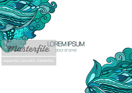 Bright abstract floral background with doodle ornament. Vector illustration