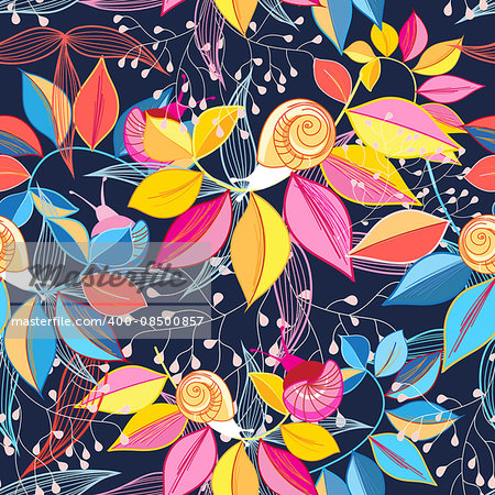 graphic seamless of colorful leaves and snails on a blue background
