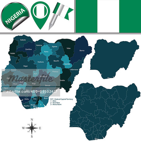 Vector map of Nigeria with named states and travel icons Stock Photo - Budget Royalty-Free, Image code: 400-08502417