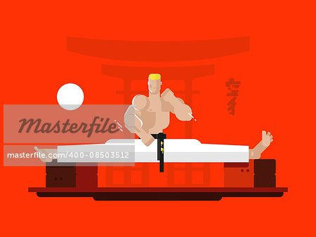 Karate character in the splits. Person young training, active sport, exercise practice, vector illustration Stock Photo - Budget Royalty-Free, Image code: 400-08503512