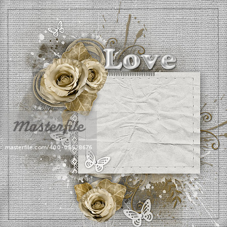 Vintage background with beige roses, lace, ribbon, paper card