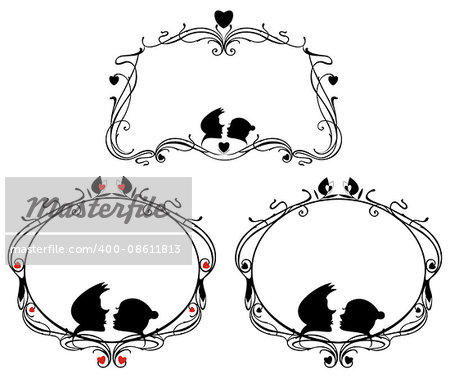Vector original decorative frames set with loving couple and heart silhouettes