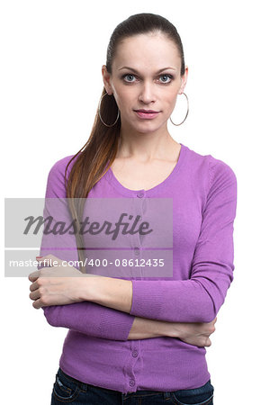 Young casual woman style isolated over white background. studio shot Stock Photo - Budget Royalty-Free, Image code: 400-08612435