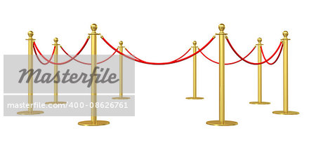 Golden barricade isolated on white background. 3D illustration Stock Photo - Budget Royalty-Free, Image code: 400-08626761