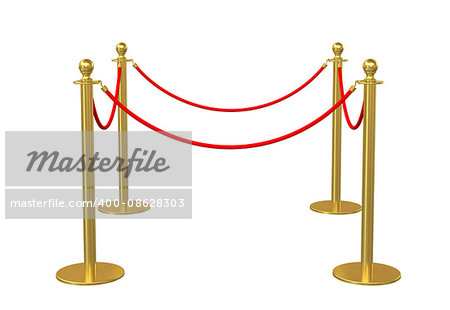 Four poles golden barricade isolate on white background. 3D illustration Stock Photo - Budget Royalty-Free, Image code: 400-08628303