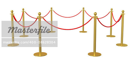 Golden barricade isolated on white background. 3D illustration Stock Photo - Budget Royalty-Free, Image code: 400-08628304