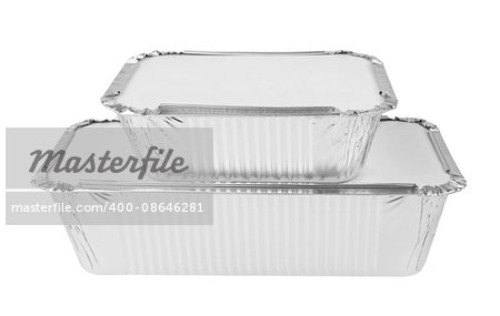 Foil trays for food on a white background Stock Photo - Budget Royalty-Free, Image code: 400-08646281