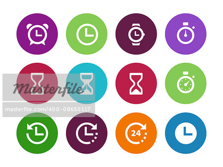 Time and Clock circle icons on white background. Vector illustration. Stock Photo - Budget Royalty-Free, Image code: 400-08650117
