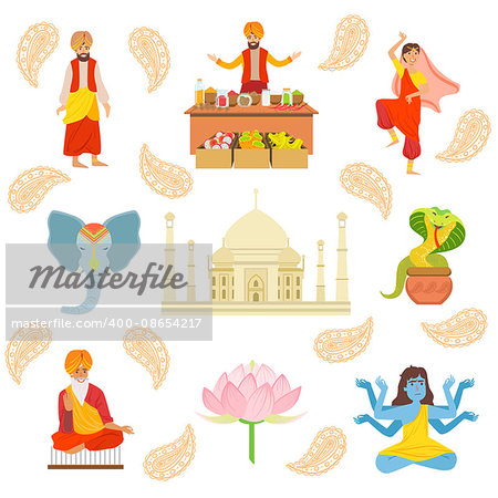 Yoga, Taj Mahal And Other Indian Cultural Symbol Simplified Cartoon Style Drawings On White Background Stock Photo - Budget Royalty-Free, Image code: 400-08654217