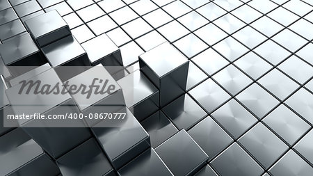 abstract 3d illustration of steel cubes background Stock Photo - Budget Royalty-Free, Image code: 400-08670777