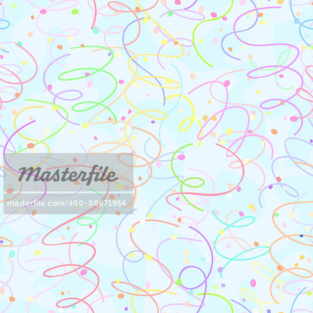 seamless confetti ribbon swirl holiday background pattern
