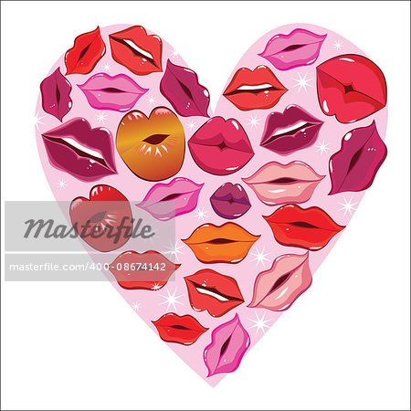 Vector lip heart, print valentine kiss, romantic background. Design element.