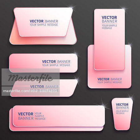 Set of glossy plastic banners for your design. Vector template illustration. Stock Photo - Budget Royalty-Free, Image code: 400-08674223