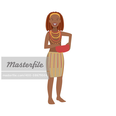 Woman With Red Hair From African Native Tribe Simplified Cartoon Style Flat Vector Illustration Isolated On White Background Stock Photo - Budget Royalty-Free, Image code: 400-08679506