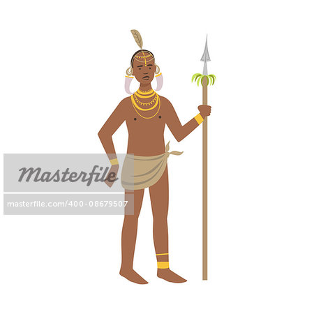 Warrior With Tusks In Ears From African Native Tribe Simplified Cartoon Style Flat Vector Illustration Isolated On White Background Stock Photo - Budget Royalty-Free, Image code: 400-08679507