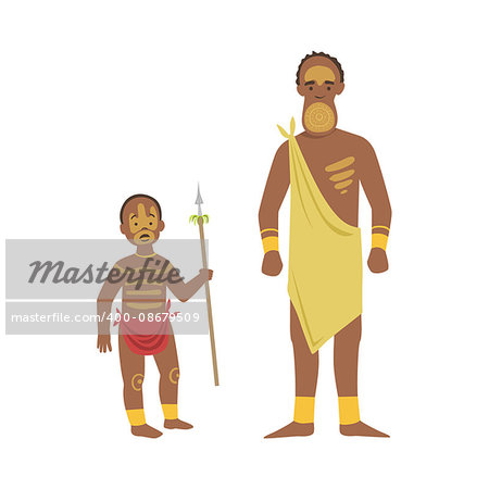 Man And Boy From African Native Tribe Simplified Cartoon Style Flat Vector Illustration Isolated On White Background Stock Photo - Budget Royalty-Free, Image code: 400-08679509